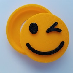 Download 3D printing files Wink Emoji Snap Badge, abbymath