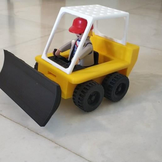 Download free 3D printer files Bulldozer push blade tool for Playmobil forklift, sokinkeso