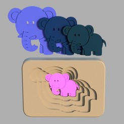 elephant2.jpg Download STL file Elephant - animal multilayer puzzle toy for toddlers • 3D print template, kozakm