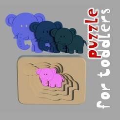 elephant.jpg Download STL file Elephant - animal multilayer puzzle toy for toddlers • 3D print template, kozakm
