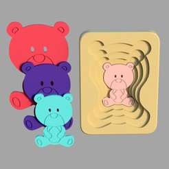 teddy_bear2.jpg Download STL file Teddy bear - animal multilayer puzzle for toddlers • 3D printer model, kozakm