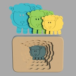 sheep2.jpg Download STL file Sheep - animal multilayer puzzle for toddlers • Template to 3D print, kozakm