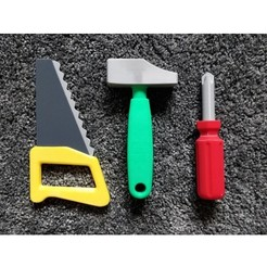 naradi.jpg Télécharger fichier STL gratuit Jeu d'outils de construction pour bébé - scie, marteau, tournevis • Objet pour impression 3D, kozakm