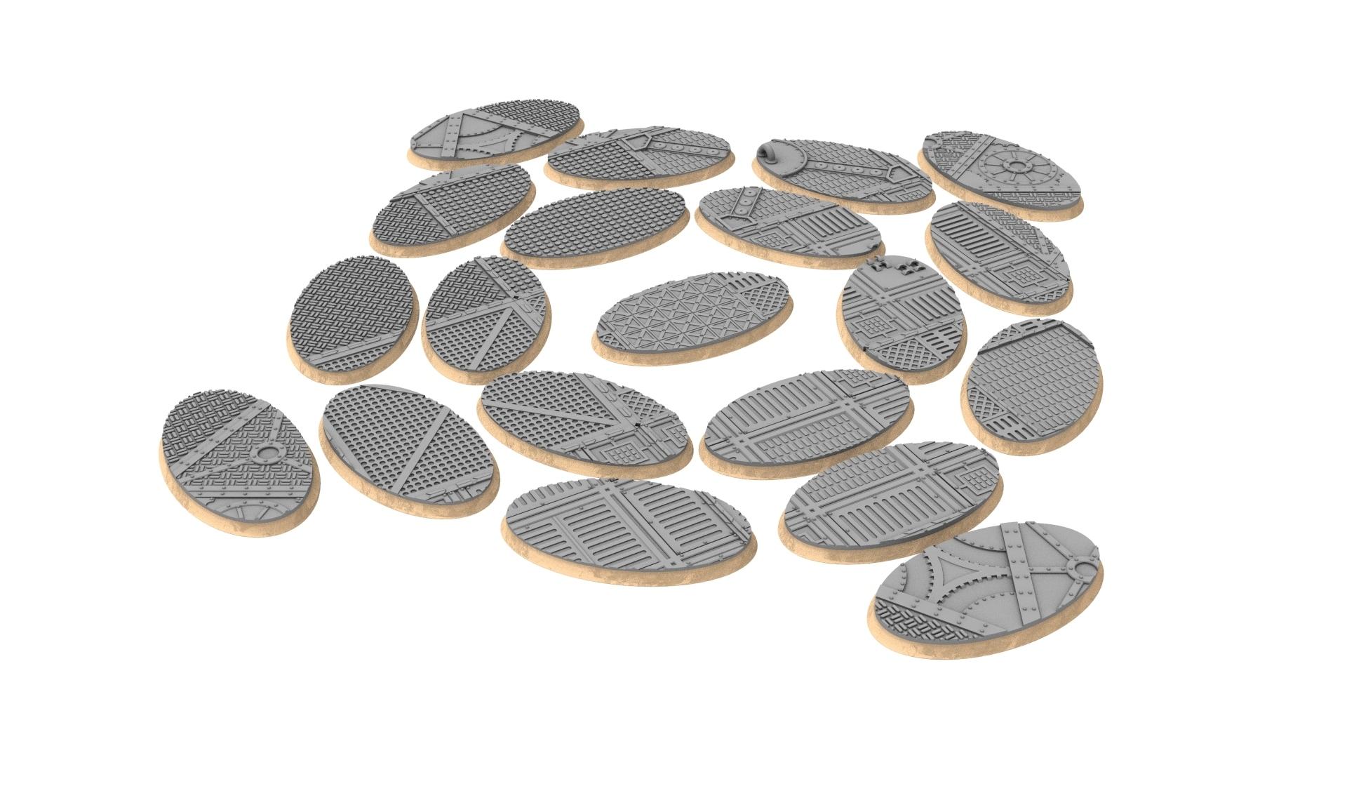 60x35.jpg Download STL file x1000 Round, oval, square, rectangular, hexagonal, industrial textured bases • 3D print design, Alario