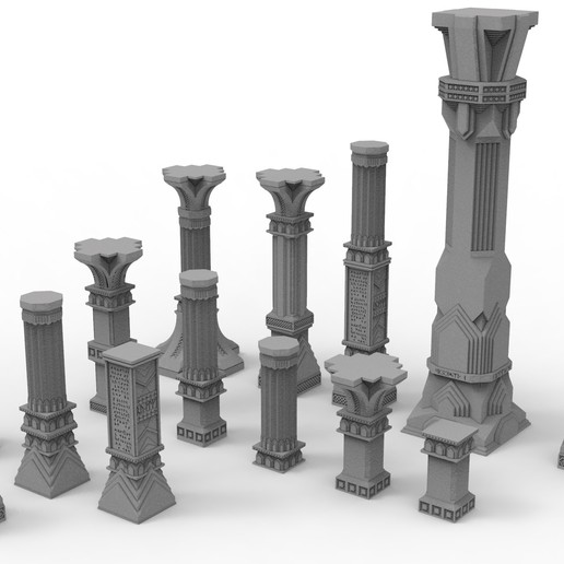 untitled.40.jpg Download STL file 3D printable pillar and assorted bases for dwarf mine • 3D printer design, Alario