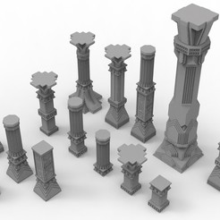 untitled.38.jpg Télécharger fichier STL 3D printable pillar and assorted bases for dwarf mine • Design imprimable en 3D, Alario
