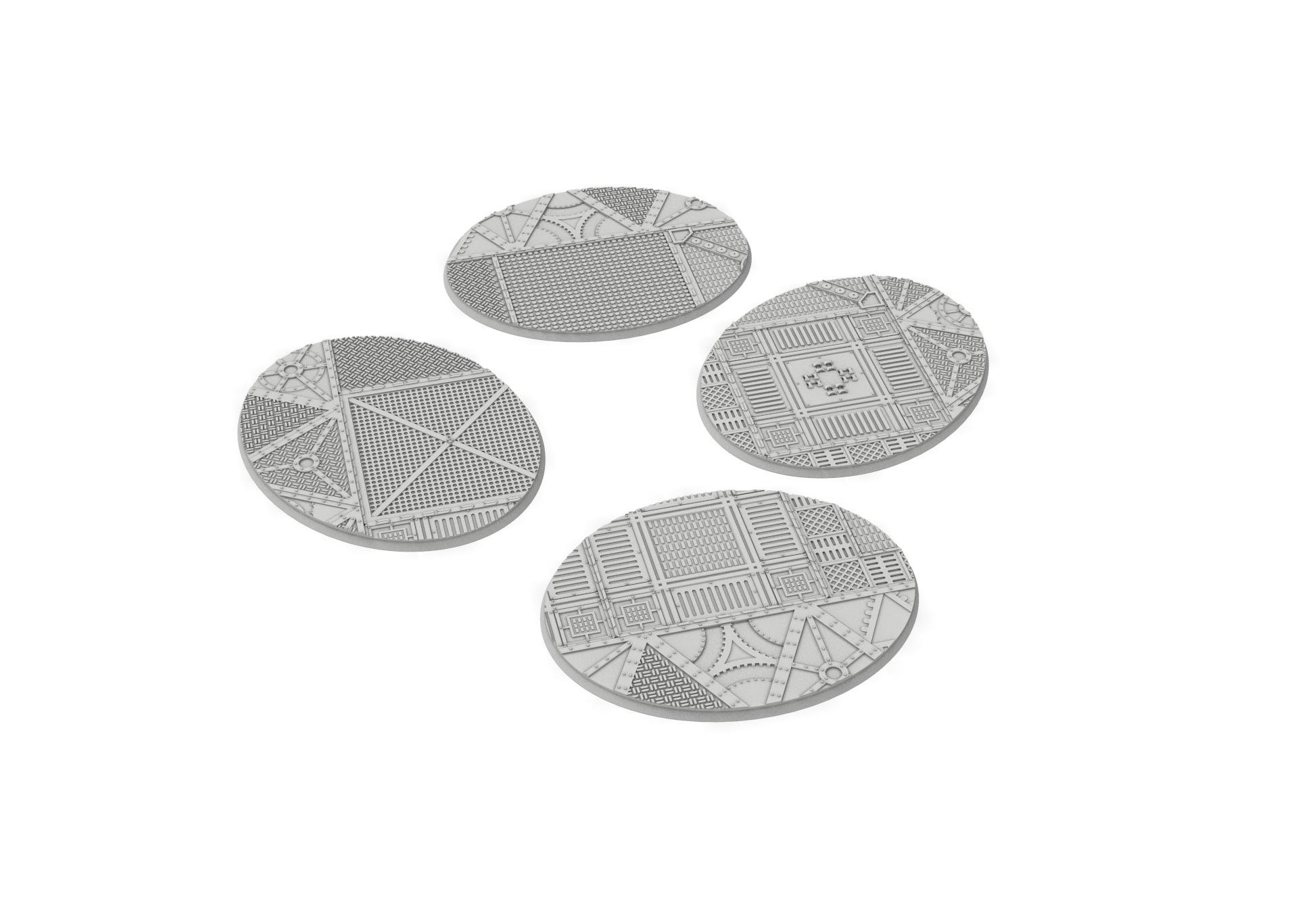 120x95.jpg Download STL file x1000 Round, oval, square, rectangular, hexagonal, industrial textured bases • 3D print design, Alario