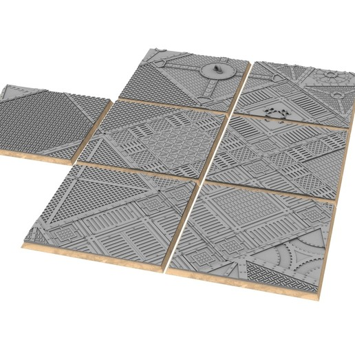 untitled.342.jpg Download STL file x1000 Round, oval, square, rectangular, hexagonal, industrial textured bases • 3D print design, Alario