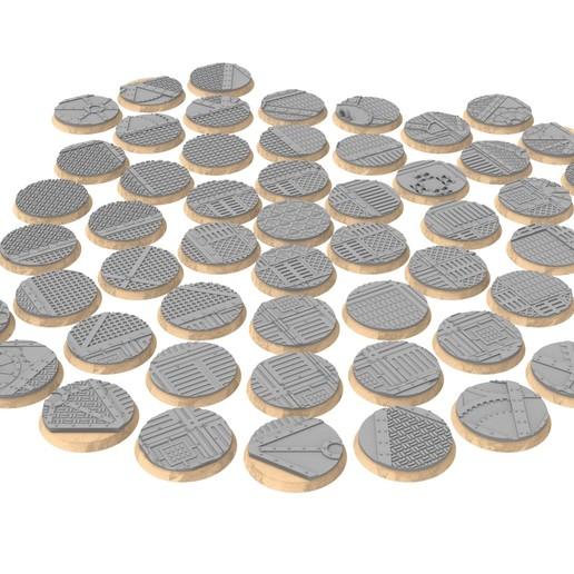 32mm.jpg Download STL file x1000 Round, oval, square, rectangular, hexagonal, industrial textured bases • 3D print design, Alario