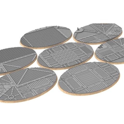105x70mm.jpg Download STL file x1000 Round, oval, square, rectangular, hexagonal, industrial textured bases • 3D print design, Alario