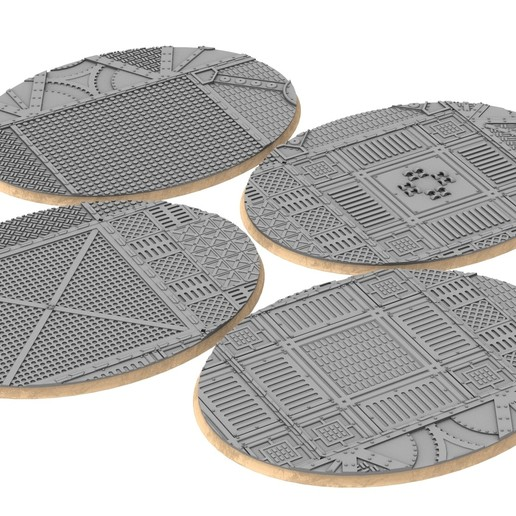 120x92.jpg Download STL file x1000 Round, oval, square, rectangular, hexagonal, industrial textured bases • 3D print design, Alario