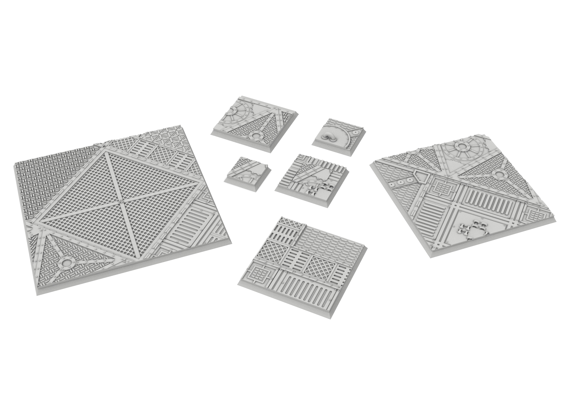 untitled.82.jpg Download STL file x1000 Round, oval, square, rectangular, hexagonal, industrial textured bases • 3D print design, Alario