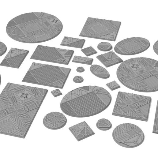 dg.jpg Download STL file x1000 Round, oval, square, rectangular, hexagonal, industrial textured bases • 3D print design, Alario