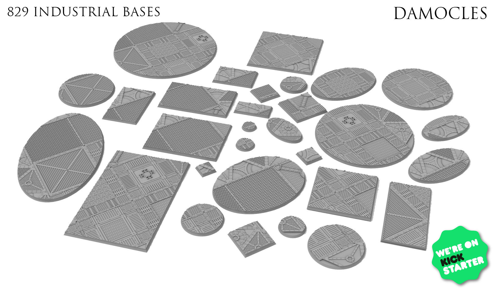 Bases.jpg Download STL file Modular industrial buildings for wargaming steampunk grimdark terrain • 3D print template, Alario