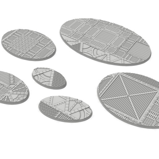 untitled.81.jpg Download STL file x1000 Round, oval, square, rectangular, hexagonal, industrial textured bases • 3D print design, Alario
