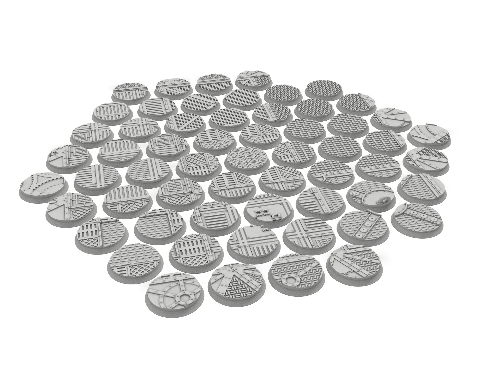 untitled.80.jpg Download STL file x1000 Round, oval, square, rectangular, hexagonal, industrial textured bases • 3D print design, Alario