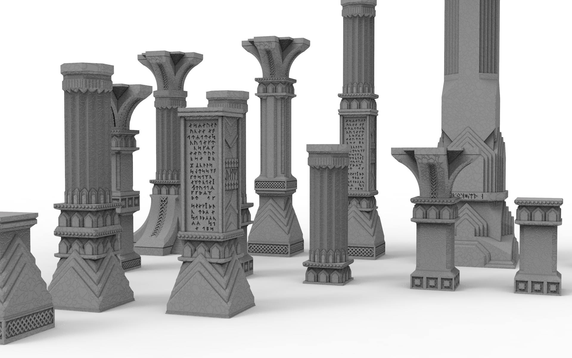 untitled.41.jpg Download STL file 3D printable pillar and assorted bases for dwarf mine • 3D printer design, Alario