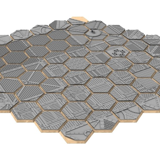 untitled.354.jpg Download STL file x1000 Round, oval, square, rectangular, hexagonal, industrial textured bases • 3D print design, Alario
