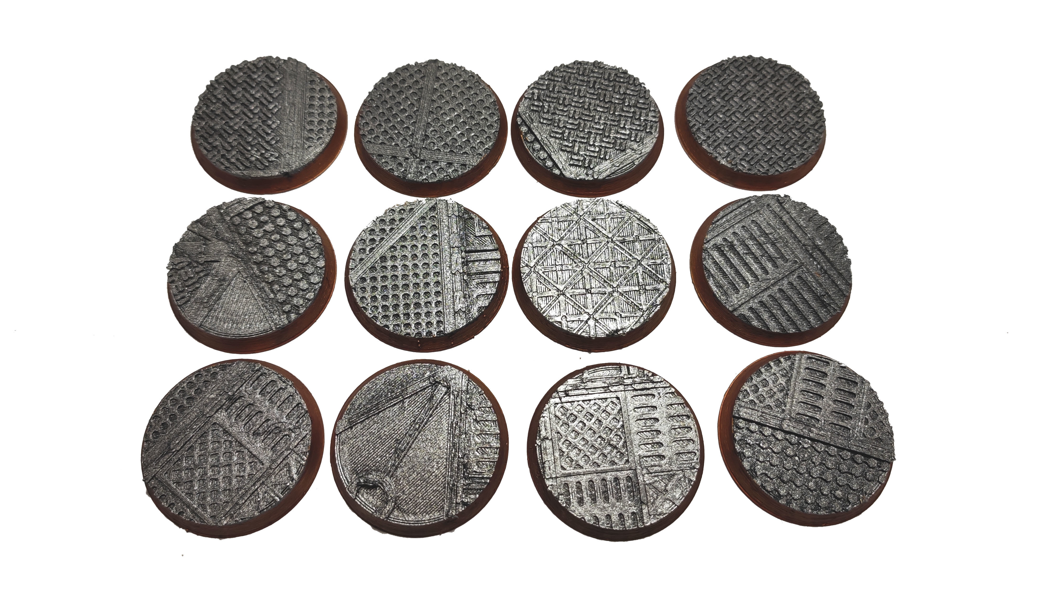 socles .jpg Download STL file x1000 Round, oval, square, rectangular, hexagonal, industrial textured bases • 3D print design, Alario