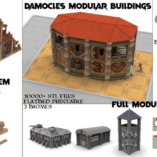 Damocles buildings.jpg Download STL file Modular industrial buildings for wargaming steampunk grimdark terrain • 3D print template, Alario