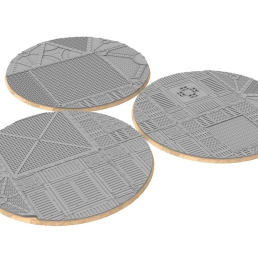 untitled.329.jpg Download STL file x1000 Round, oval, square, rectangular, hexagonal, industrial textured bases • 3D print design, Alario