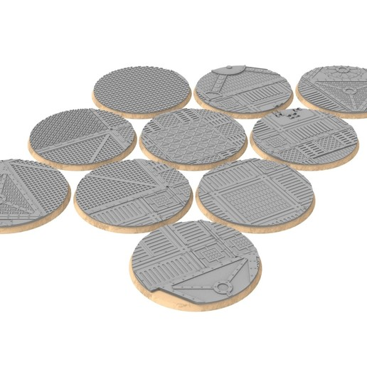 untitled.326.jpg Download STL file x1000 Round, oval, square, rectangular, hexagonal, industrial textured bases • 3D print design, Alario