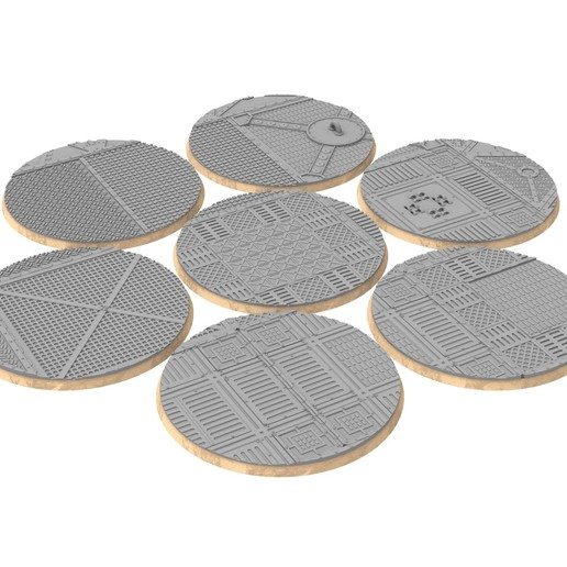 untitled.327.jpg Download STL file x1000 Round, oval, square, rectangular, hexagonal, industrial textured bases • 3D print design, Alario