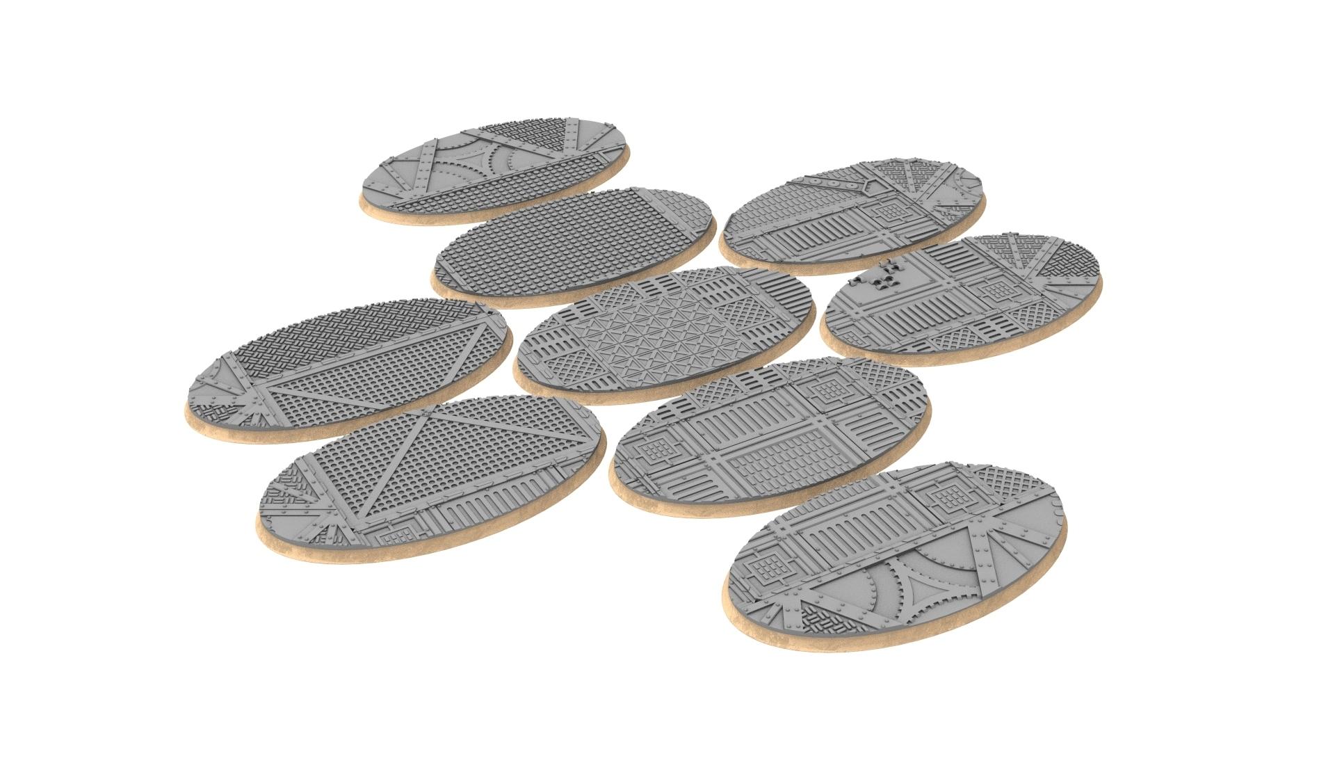 90x52.jpg Download STL file x1000 Round, oval, square, rectangular, hexagonal, industrial textured bases • 3D print design, Alario