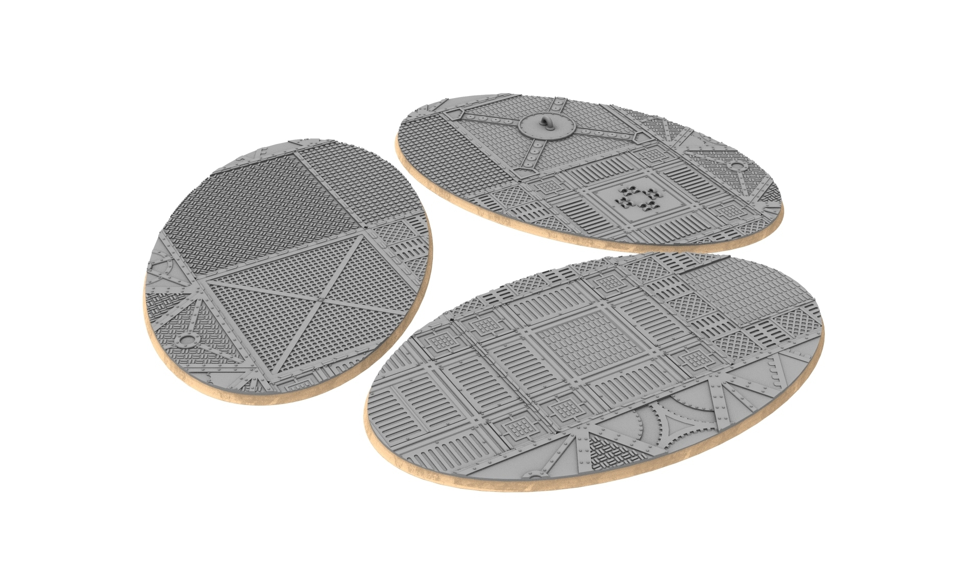 170x105.jpg Download STL file x1000 Round, oval, square, rectangular, hexagonal, industrial textured bases • 3D print design, Alario
