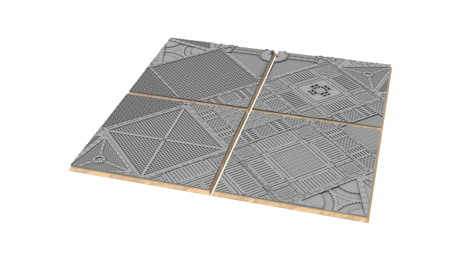 untitled.343.jpg Download STL file x1000 Round, oval, square, rectangular, hexagonal, industrial textured bases • 3D print design, Alario