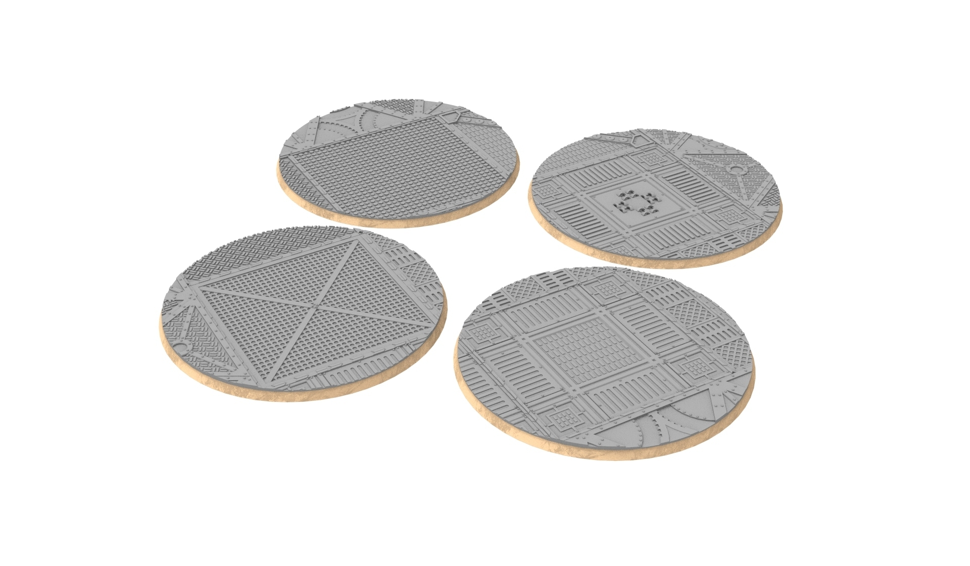 untitled.328.jpg Download STL file x1000 Round, oval, square, rectangular, hexagonal, industrial textured bases • 3D print design, Alario