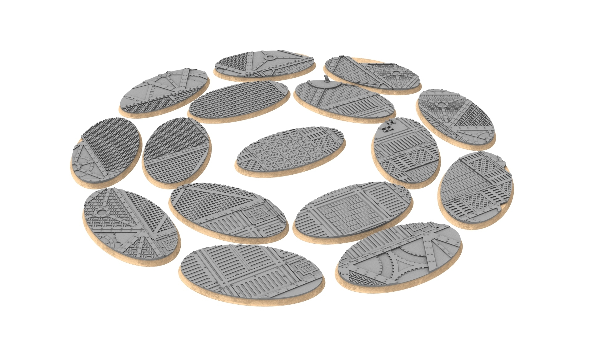 75x42.jpg Download STL file x1000 Round, oval, square, rectangular, hexagonal, industrial textured bases • 3D print design, Alario