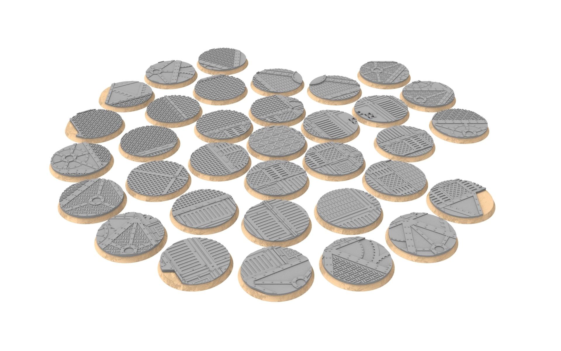 40mm.jpg Download STL file x1000 Round, oval, square, rectangular, hexagonal, industrial textured bases • 3D print design, Alario