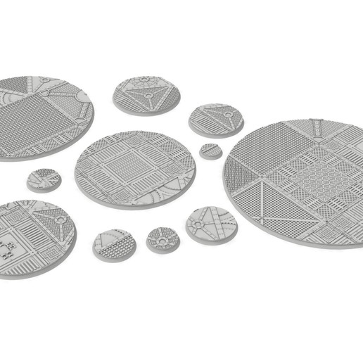untitled.114.jpg Download STL file x1000 Round, oval, square, rectangular, hexagonal, industrial textured bases • 3D print design, Alario