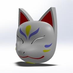 Masque kitsune 16.JPG Télécharger fichier STL Masque Kitsune • Objet à imprimer en 3D, folken02