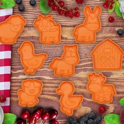 uvodka_farma.jpg Download STL file CUTE FARM ANIMALS COOKIE CUTTER / STAMP • 3D printing object, Indibles