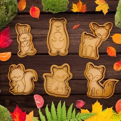 uvodka_lesni.jpg Download STL file Cute Forest animals cookie cutter / stamp • Template to 3D print, Indibles