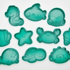 more_1x1-0103.jpg Download STL file Sea animal stamp / cookie cutter  • 3D printing template, Indibles