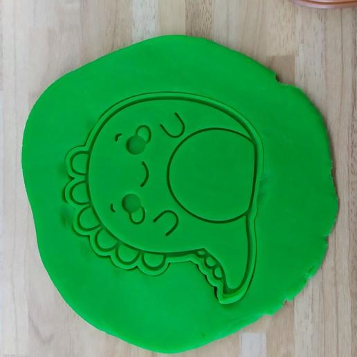 Télécharger modèle 3D gratuit Joli moule à biscuit / timbre de dino, Indibles