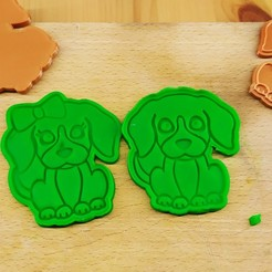 IMG_20201102_165121.jpg Télécharger fichier STL M. & Mme Chiot coupeur de biscuits / tampon • Design à imprimer en 3D, Indibles