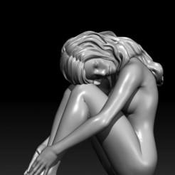 Girl01-01.jpg Télécharger fichier STL Sad Girl (A) : fille nue et triste posée sur le sol • Design imprimable en 3D, Nairat