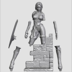 Download 3D printer designs Gina : Printable 3D Fantasy Girl with Scene, Nairat