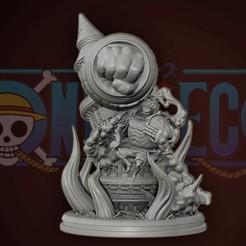 cover1v7.jpg Download STL file Luffy Gear 4 Ultimate King Kong Gun - One Piece 3d Print statue • 3D printable model, pako000