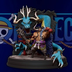 cover1.jpg Download STL file kaido king of the beasts dragon - one piece 3d print statue • 3D printable model, pako000