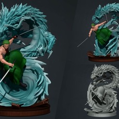 zoro thumbnail.jpg Download STL file one piece - roronoa zoro - 3d print statue • 3D printing model, pako000