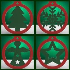 Télécharger fichier 3D Boule de Noëls - Anneaux avec Motifs de Noël (4 fichiers), stratation