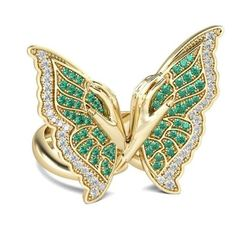 1 (3).jpg Download free STL file JCR 1005 Butterfly Sterling Gold Cocktail Ring • Template to 3D print, CreatorWorld