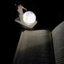 1Book.jpg Download STL file Astro Grabbing Moon Lamp • 3D printer object, dam3ds100
