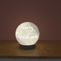 moonmerry.22.jpg Download free STL file Merry Christmas Moon Lamp ( with santa) • Model to 3D print, dam3ds100