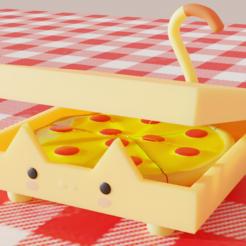 Download 3D printing files Cat Pizza, QuetzArt